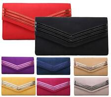 LADIES CLUTCH EVENING FAUX SUEDE WEDDING ENVELOPE WOMENS PROM PARTY BAG