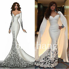 White Mermaid Formal Prom Dress With Cape Celebrity Party Gowns Little Girl Gown