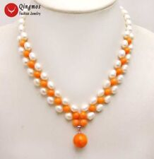 7-8mm White Rice pearl and Coral Pendant handwork Weaving 17'' Necklace-nec6188