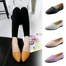 Womens Work Pointed Toe Flats Black PU Leather Candy Color Ballet Loafers Shoes