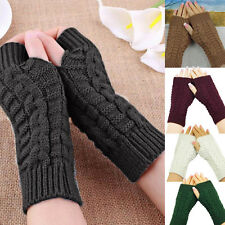 Fashion Knitted Arm Fingerless Winter Women's Gloves Unisex Soft Warm Mittens