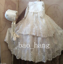Baby Baptism Dresses Lace Christening Gowns Outfits Toddler +Bonnet +Bib Custom