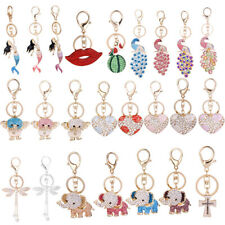 Girls Fashion Crystal Peacock Key Ring Charm Keychain Pendant Purse Bag Accss