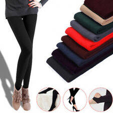 Women Ladies Plain Solid Color Cotton Winter Warm Full Length Leggings 8 Colors