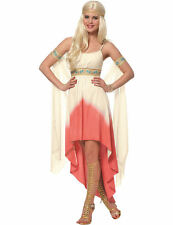 Adult Ladies Coral Goddess Toga Grecian Greek Fancy Dress Outfit Costume