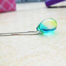 Fancy Water Droplet Mermaid Glass Pendant Necklace Silver Chain Womens Jewelry