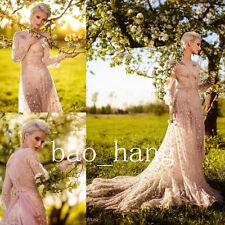 Blush Lace Wedding Dresses New A Line Sheer Long Sleeve Fairy Bridal Gown Beads