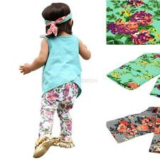 Toddlers Baby Girls Floral Long Pants Trousers Fashion Soft Cotton Leggings G32