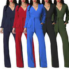 Women Sexy V Neck Jumpsuit Club Party Long Sleeve Romper Wide Leg Trousers Pants