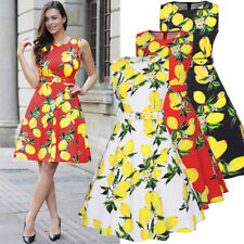 Womens Print Prom Retro Casual Party Pinup Lady Rockabilly Vintage Dress Summer