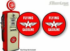 "2 Vintage Flying A Gasoline Antique Gas Pump 9"" Decals Grease Pumps Sign Sticker"