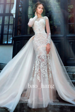Detachable Skirt Lace Mermaid Wedding Dresses Long Sleeves New Bridal Gowns 2017