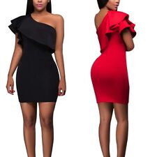 Sexy Women One Shoulder Mini Dress Ruffled Bodycon Party Cocktail Club Dress