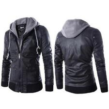 Fashion Slim Fit Hooded PU Leather Motorcycle Biker Zip Jacket Men's Coat Bomber