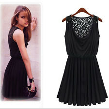 Women's Graceful Retro Sexy Lace Sleeveless Summer Heaps Collar Mini Party Dress