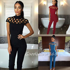 Fashion Women's Choker High Neck Caged Sleeve Playsuits Long Jumpsuits Rompers