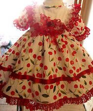 DREAM BABY RED CHERRY HEARTS FRILLY SPANISH DRESS 0 - 4 YEARS   OR REBORN DOLLS