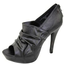 Women's Peep Toe Zip Up Scrunched Leather High Heel Fashion Platform Bootie