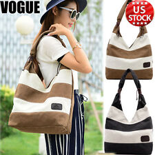 Womens Fashion Stripe Handbags Shoulder Bag Canvas Tote Ladies Travel Messengers