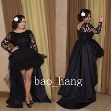 High Low Black Lace Evening Formal Gowns Long Sleeve New Prom Party Dress Custom