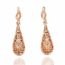 Antique Style Stunning Rose GOLD Plated Filigree Drop Earrings VINTAGE LOOK