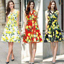 Vintage 50s Cocktail Print Dress Womens Ladies Sleeveless Belt Swing Dress Tops