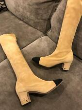 CHANEL 15K Two Tone Stretch Suede Cap Toe Knee High Tall Boots Beige Black $1425