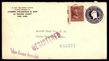 Uprated postal stationery cover registered to Weymouth Massachusetts