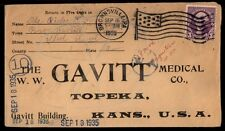 BROWNSVILLE PA SEP 16 1935 SINGLE FRANKED FLAG CANCEL ON COVER TO TOPEKA KS