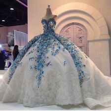 3D Flower Applique Wedding Dresses Luxury Crystal Strapless Bridal Ball Gowns