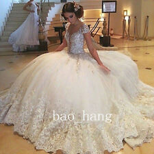 Bling Sparkles Wedding Ball Gown Puffy Skirt Princess Appliques Bridal Dress New