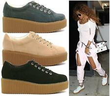 Ladies Flat Platform Wedge Lace Up Creepers Faux Suede Punk Goth Shoes Size 3-8