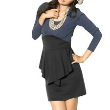 Ladies Scoop Neck Puff Long Sleeve Knit Mini Dress