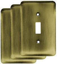 Franklin Brass Stamped Round Single Switch Wall Plate Set of 3