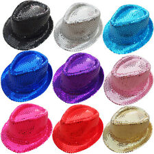 Hot Women Kids Fedora Trilby Sequin Hat Gangster Cap Costume Jazz Dance Party MD