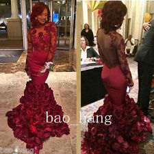 Red Mermaid Long Sleeve Evening Party Gowns Sexy Formal Prom Dress Flowers Skirt
