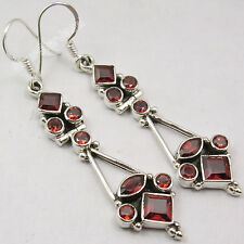 Multistone RED Earrings !! 925 Solid Silver Genuine GARNET 8 Gem Jewelry 5.4 CM