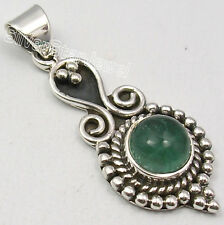 925 SOLID Silver CABOCHON GREEN APATITE HANDMADE Pendant 3.8 CM ONLINE SHOPPING