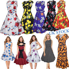 UK Womens 1950s 60s Retro Floral Vintage Rockabilly Swing Dresses Cocktail Party