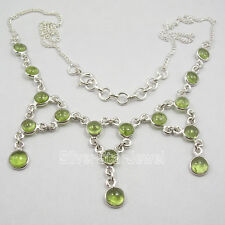 925 Solid Silver CABOCHON PERIDOT Large Necklace 17 5/8 Inches BIRTHDAY PRESENT