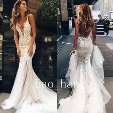 Straps V Neck Open Back Wedding Dress Mermaid Summer Applique Bridal Gown Custom