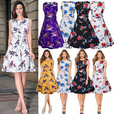 Ladies 50s Retro Vintage Cocktail Party Swing Dress Floral Print Plus Size Dress