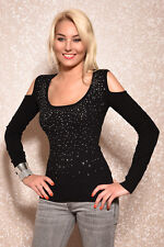 Sexy Women's Knit Pullover Melrose Fine Knit Jumper Pulli Strass Cut-Outs XS-M