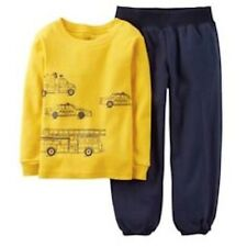 NWT CARTERS 2PC BOYS YELLOW POLICE FIRETRUCK TOP NAVY PANTS 3T & 4