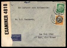 Germany to New York US 1940s Censored Airmail cover