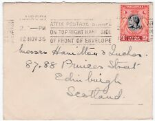 Nairobi Place Stamp at Top Right 1936 Slogan Cancel Cover to Scotland