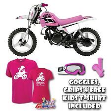 PW50 Yamaha WHITE plastic PINK seat tank covers USA 3M retro decal goggles grips