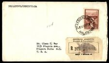 Buenos Aires Argentina registered cover to Niagara Falls New York US 1962