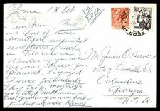 Italy multifranked 110 lire rate postcard Firence to Columbus Georgia US