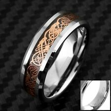 Engraved Tungsten Rose Gold Celtic Dragon Stripe Band Ring Size 5-13